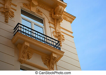 Neoclassical style balcony in a recently built construction
