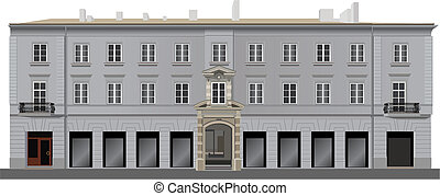 Neo classical renovated bulding facade from Warsaw famous street Nowy Swiat. Color vector illustration.