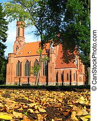 Neogothic church in autumn