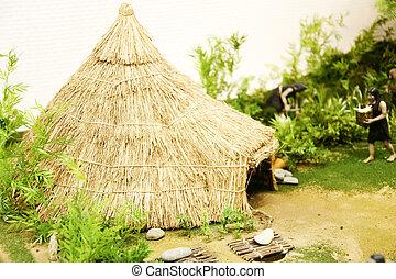 Neolítico, corea, cazador, modelo, sur