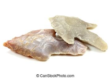 neolithic arrowheads isolated on white background
