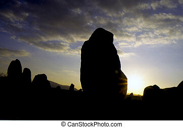 Stone circle sen at sunset in Orkney Islands, Scotland.