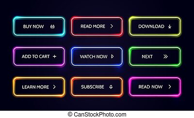 Neom web button. Glow modern colorful action buttons. Vector buy now download read more banner set