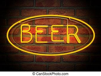 neon, öl, underteckna, på, a, ansikte, tegelsten vägg