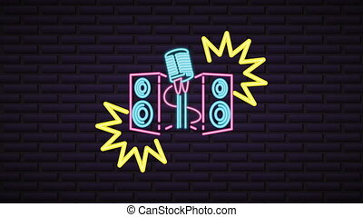 neon, ściana, karaoke, lekki, etykieta