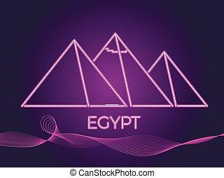 neon., スタイル, エジプト人, イラスト, 80's., ベクトル, ピラミッド, アイコン