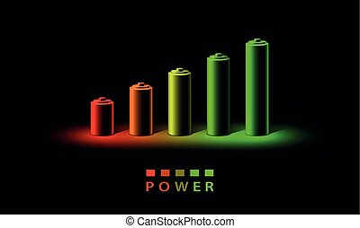 Neon 3D battery charge level indicator. Realistic set of batteries from the small red to the big green in neon light on a black background