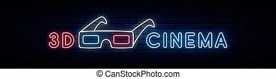 Neon 3d glasses sign.