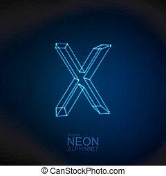 Neon 3D letter X