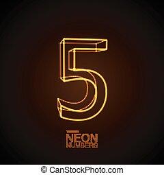 Neon 3D number 5