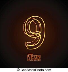 Neon 3D number 9