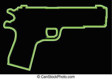 Neon 45 Automatic - A green neon 45 automatic hand gun...