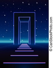 Neon 80s styled massive gate in retro game landscape with...