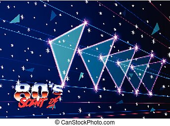 Neon 80s styled triangles flying in space with laser rays