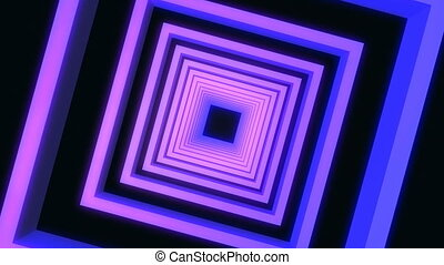 Neon abstract square tunnel. background