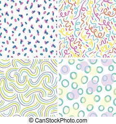 Neon abstraction seamless patterns
