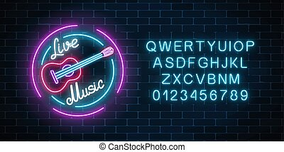 Neon alphabet and sign of bar with live music. Glowing signboard of sound cafe with classic guitar symbol.