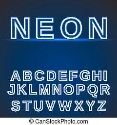 neon alphabet. Glowing font.