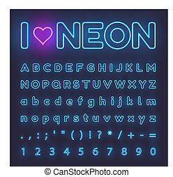 Neon Alphabet. Letters, symbols, numbers