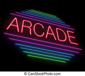Neon arcade sign. - Illustration depicting an illuminated...