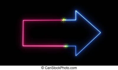NEON arrow pink blue color and short circuit spark glow green
