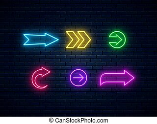 Neon arrow signs collection. Bright arrow pointer symbols on brick wall background.