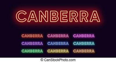 neon, australia., naam, stad, canberra, tekst, hoofdstad