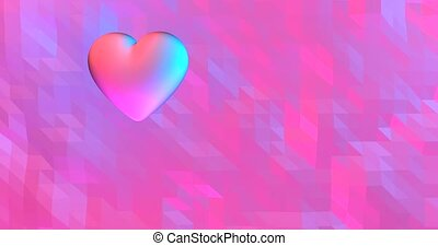 Neon background with glowing ultraviolet heart. For St. Valentines Day event,.3D rendering loopable animation 4k