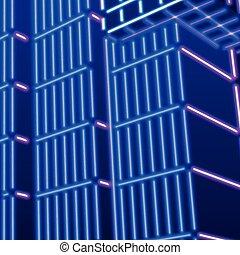 Neon background with ultraviolet 80s grid landscape - Neon...