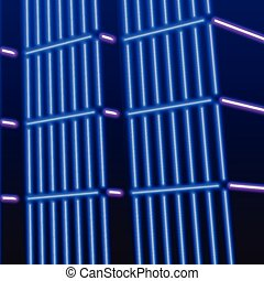 Neon background with ultraviolet 80s grid landscape - Neon...