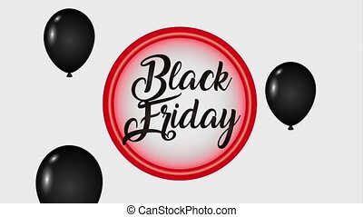 neon badge and decorative balloons black friday black friday...