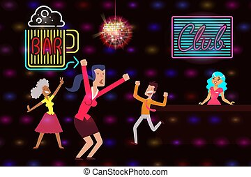 Neon banner beer bar and night club, vector illustration. Illumination, disco ball, bright advertising for place visitors.