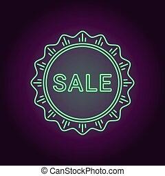 Neon banner of green Sale badge