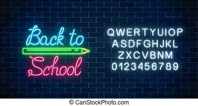 Neon banner with back to school greeting text. Design of leaflet, flyer with pencil and alphabet. Glowing neon sign