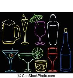 neon, bar, sammlung