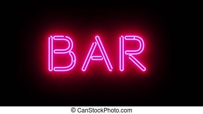 Neon bar sign outside public house, saloon or tavern. A colourful graphic for alcohol or cocktails in a lounge - 4k