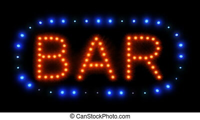 Neon Bar Sign With Moving Lights