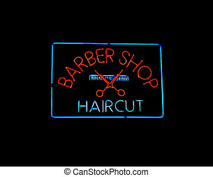 Neon BARBER SHOP sign with scissors and comb