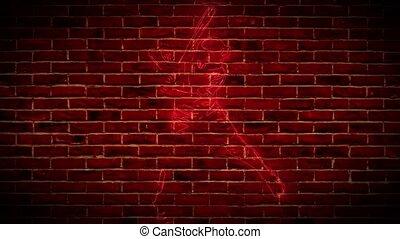 Neon Baseball sign on brick wall background.