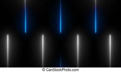 Neon beams in darkness, modern neon technology, 3d computer...
