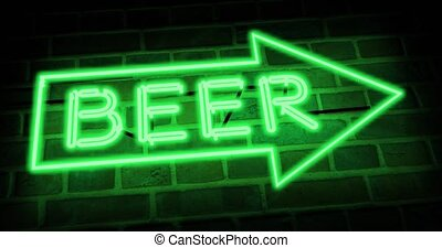 Neon beer sign shows nightclub, bar or pub. Brewery signage for a cafe or restaurant - 4k