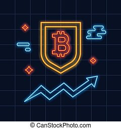 Neon Bitcoin logo. Crypto currency glowing icon sigh. ...
