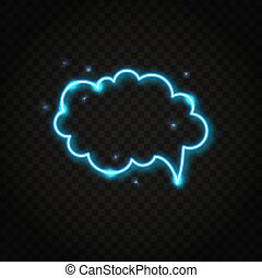 Neon blue cloud speech bubble with space for text