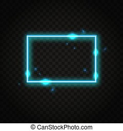 Neon blue rectangle frame with space for text