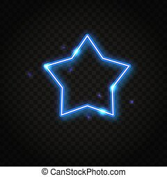 Neon blue star frame with space for text