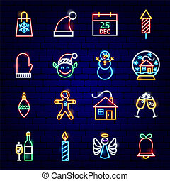 neon, boże narodzenie, ikony