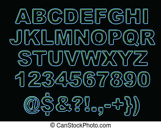 Bold alphabet of neon letters in blue and green