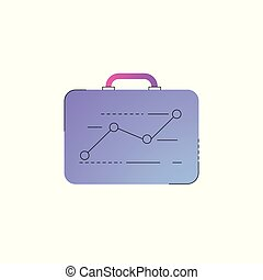 Neon briefcase with ascending graph line icon.