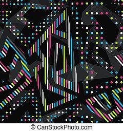 Neon bright geometric seamless pattern.