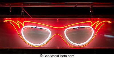 neon, brille, zeichen